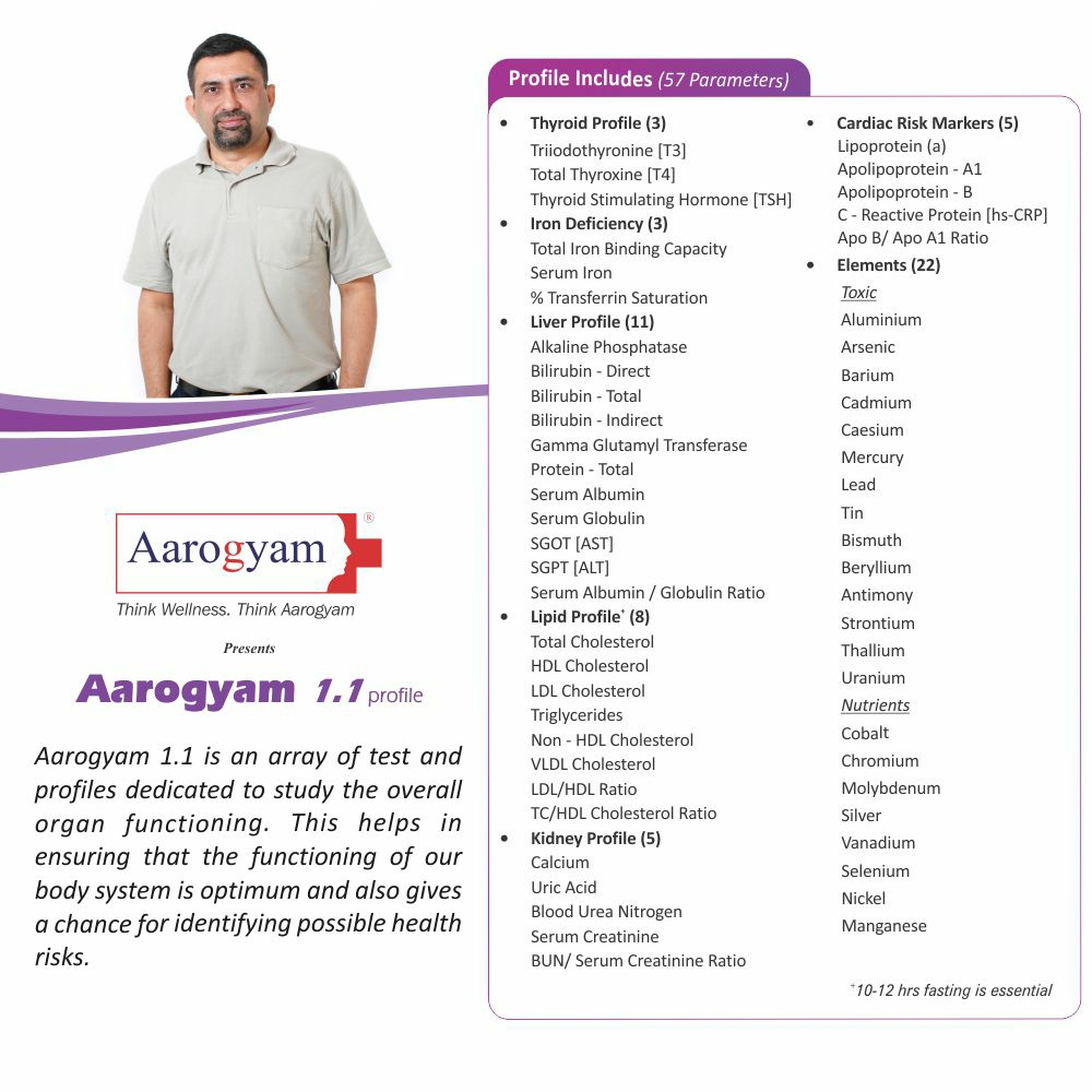 Thyrocare AAROGYAM 1.1 @Rs.950 Only | 57 Tests | Thyrocare Packages