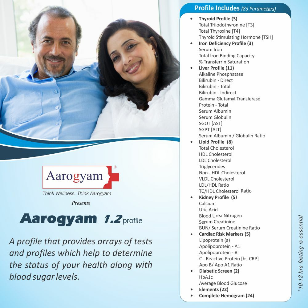 Thyrocare AAROGYAM 1.2 @Rs.1399 Only | 83 Tests | Thyrocare Packages