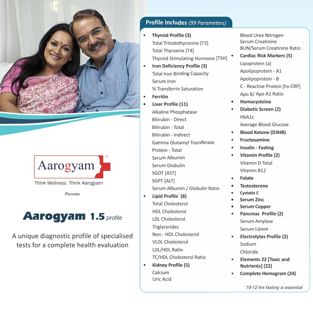 Thyrocare AAROGYAM 1.5 @Rs.2590 Only | 99 Tests | Thyrocare Packages