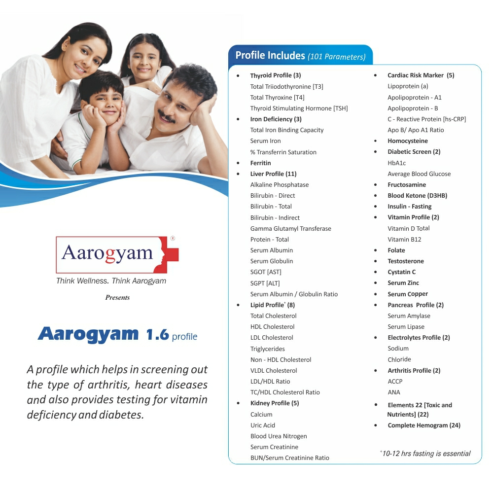 Thyrocare AAROGYAM 1.6 @Rs.2950 Only | 101 Tests | Thyrocare Packages