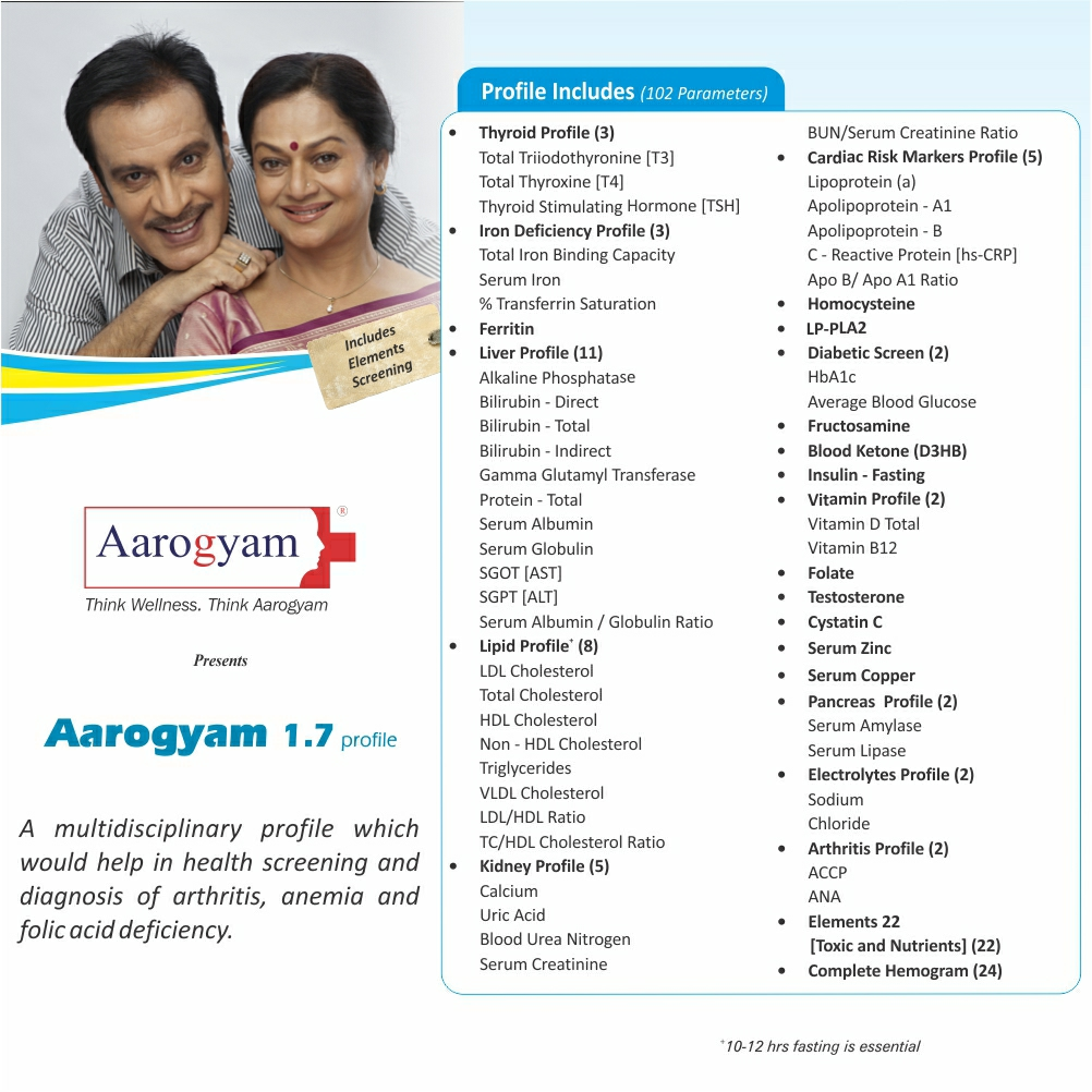 Thyrocare AAROGYAM 1.7 @Rs.3370 Only | 102 Tests | Thyrocare Packages