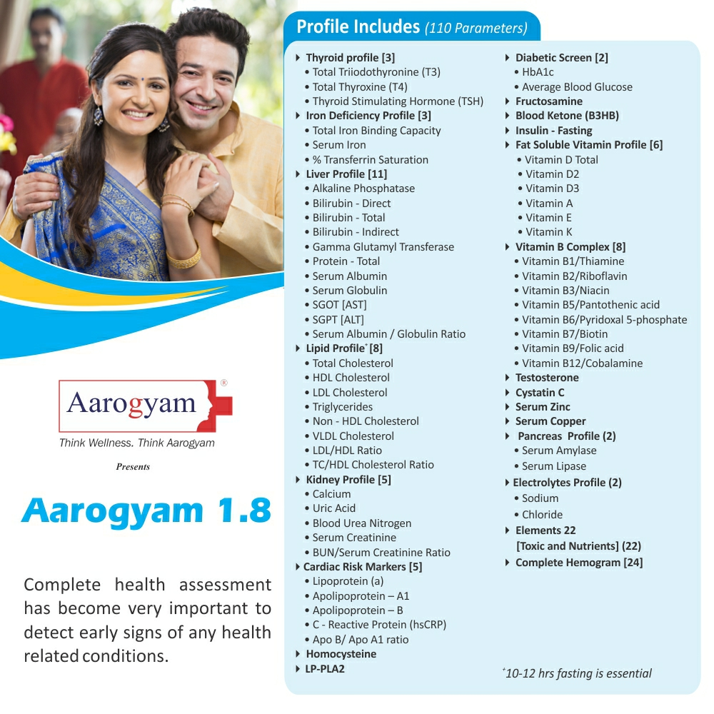 Thyrocare AAROGYAM 1.8 @Rs.3530 Only | 110 Tests | Thyrocare Packages