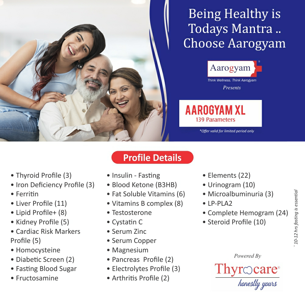 Thyrocare AAROGYAM XL @Rs.4690 Only | 139 Tests | Thyrocare Packages